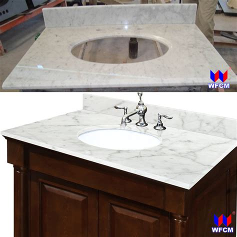 china bianco carrara marble bathroom vanity top attached