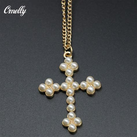 Necklace In 14k P 183 wholesale new 14k gold filled flower faux pearl cross pendant necklace for fashion easter