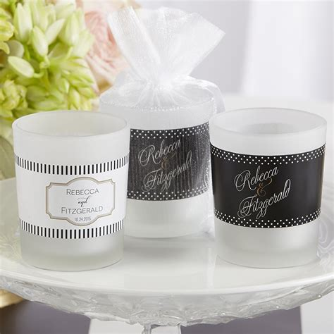 personalized candle wedding favors personalized frosted glass votive wedding candle favors