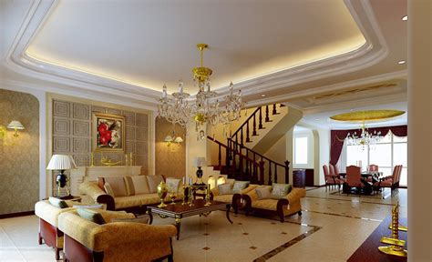 luxury living room design french villa interior dining room hallway and stairs