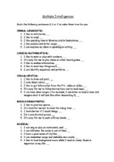 printable iq test for students english worksheets multiple intelligences worksheets page 2