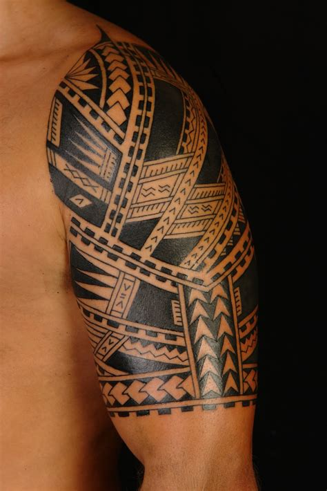 hawaiian tribal arm tattoos shane tattoos polynesian half sleeve
