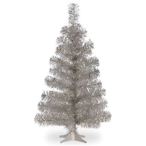 national tree company 3 ft silver tinsel artificial