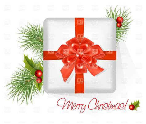 present  red bow merry christmas vector image  objects  ivelly  rfclipart