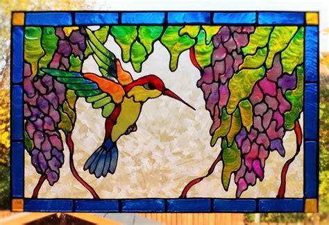 glass door clings hummingbird bird window cling stained glass effect door