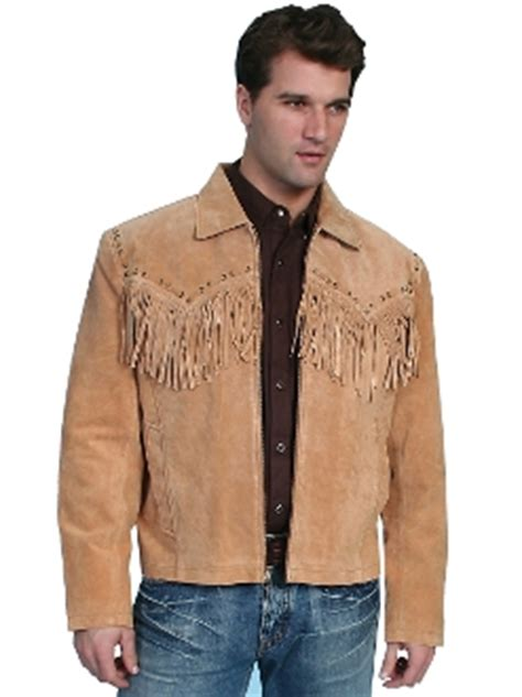 """""""jerry"""" mens scully whip stitch fringe bourbon suede jacket"""