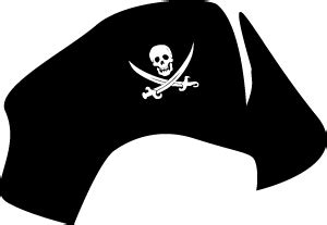 clip art pirate hat tricorn with jolly roger skull and