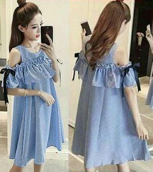 Dres Mini Salur baju mini dress pendek wanita desain bahu bolong motif