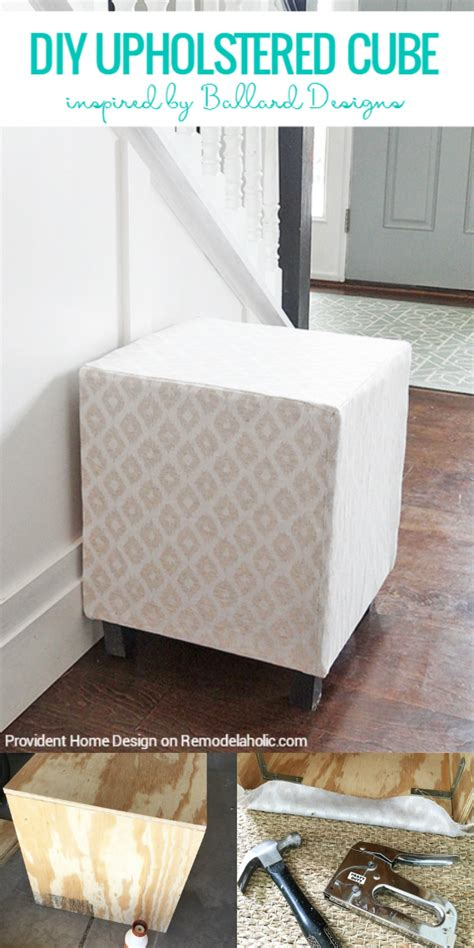 Ottoman Upholstery Diy by Remodelaholic Ballard Designs Inspired Upholstered Cube