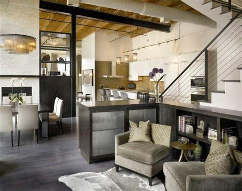 industrial living area design ideas with wooden high ceiling d 233 co salon gris et taupe pour un int 233 rieur raffin 233