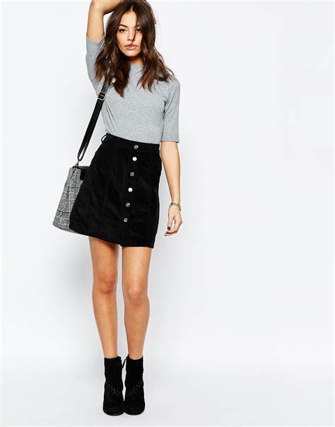 An A Line Skirt Look by New Look Cord Button A Line Skirt At Asos