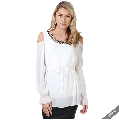 Chiffon The Shoulder Blouse womens cold shoulder chiffon blouse top cut out