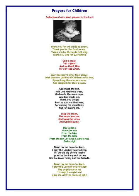 thank you card template to embed in email children prayer