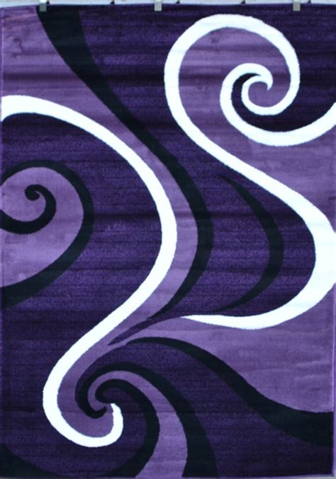 Swirl Area Rug by 0327 Purple Black White Modern Abstract Swirls Area Rug