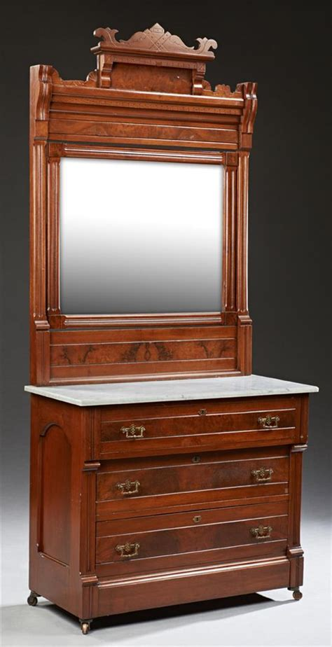 Carved Dresser by American Eastlake Carved Walnut Marble Top Dresser C 1890