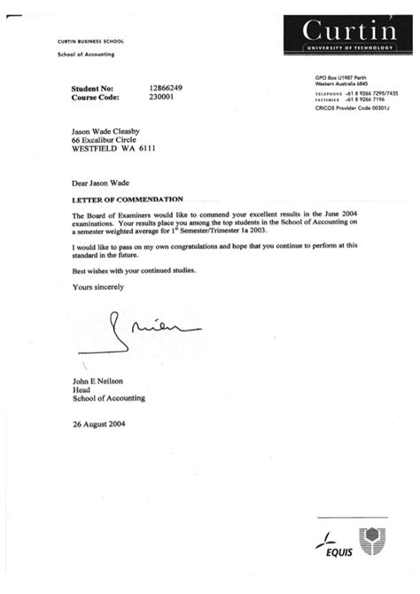 letter of commendation curtin letter of commendation