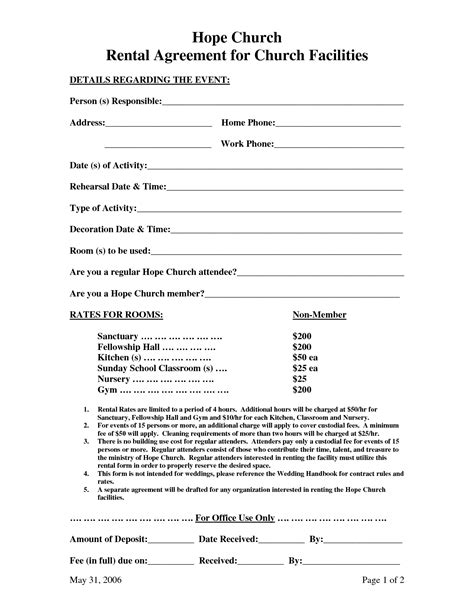 10 best images of facility rental agreement template