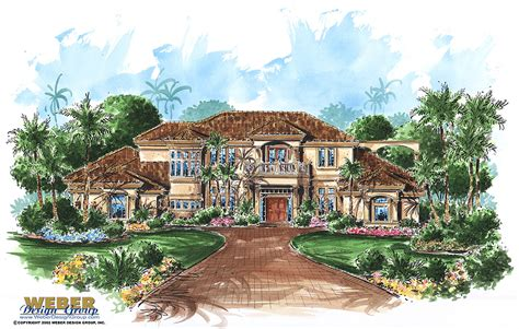 mediterranean house plan with tuscan style outdoor living