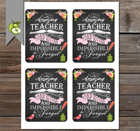 printable teacher thank you gift tags teacher appreciation gift tag a truly amazing teacher gift