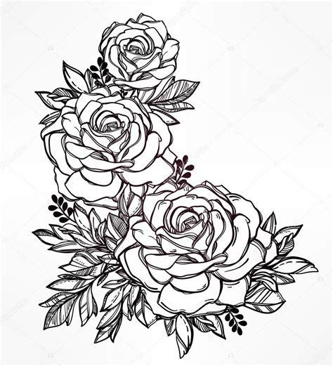 花卉的老式手工绘制的玫瑰花干 图库矢量图像 169 katja87 90075150