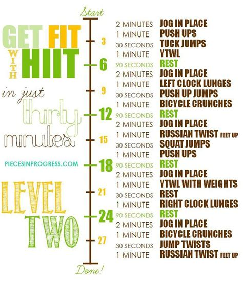 level one two and three 30 minute at home workout plans