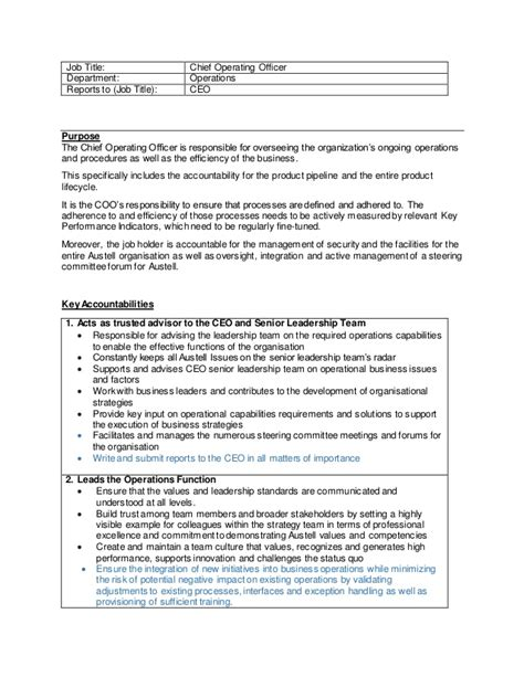 Chief Operating Officer Duties by Chief Operating Officer Description