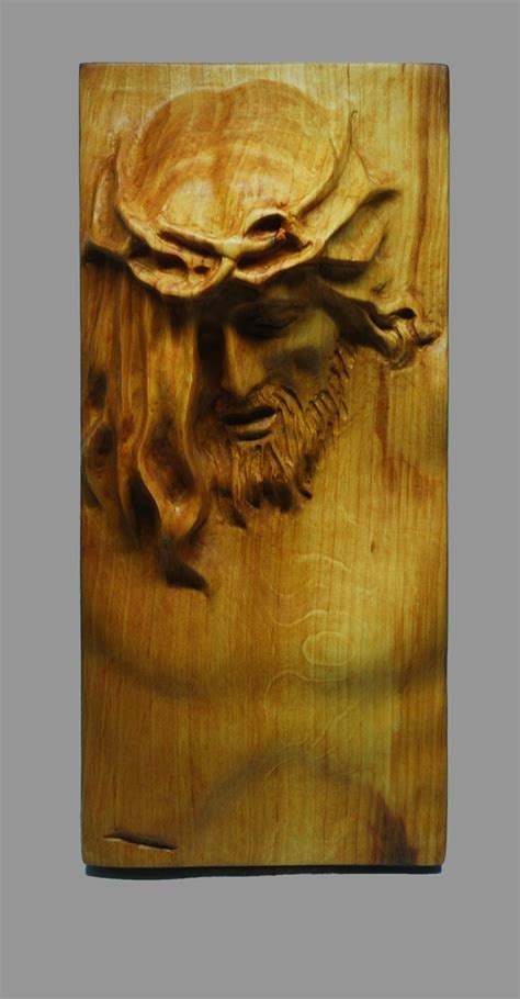 Handmade Wood Carvings - religious wood carving handmade jesus wall hanging plaque