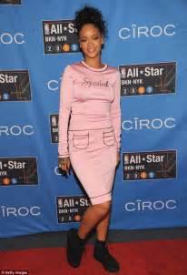 Rihana Syari Pink rihanna goes braless in sheer pink dress at nba all