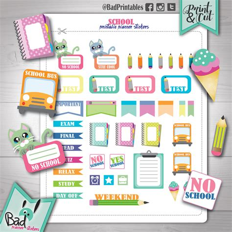 printable school planner stickers school planner stickers sale back to school stickers printable