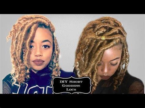 diy   short goddess locs on medium length hair