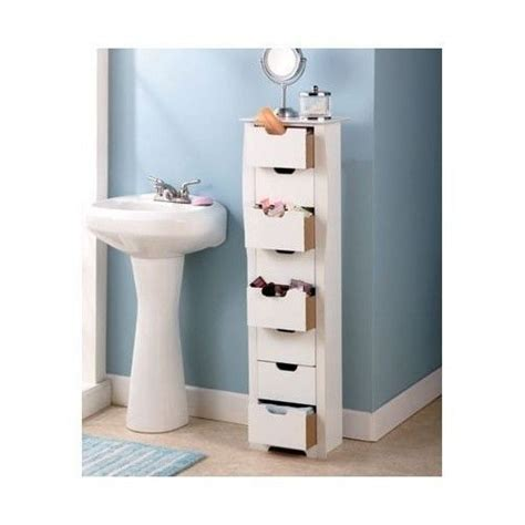 bathroom storage cabinet slim white 8 drawer