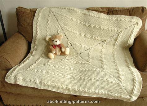 Garter Stitch Baby Blanket Pattern by Abc Knitting Patterns Garter Stitch Baby Blanket With Cables