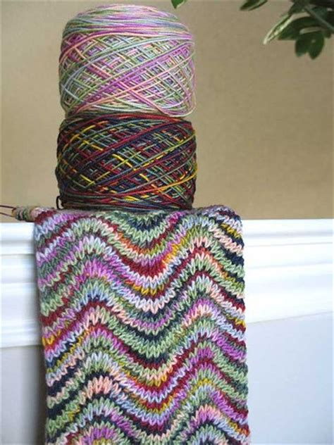 shawl pattern variegated yarn knit ripple scarf with 2 variegated yarns lionbrand