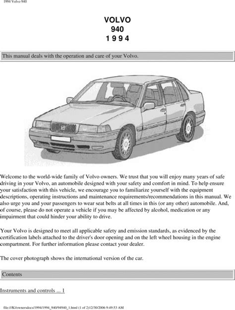 best car repair manuals 1994 volvo 940 parking system 94 volvo 940 1994 owners manual download manuals technical