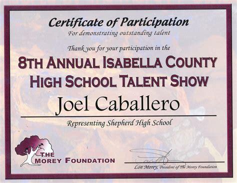 talent show participation certificate proficiencies joel