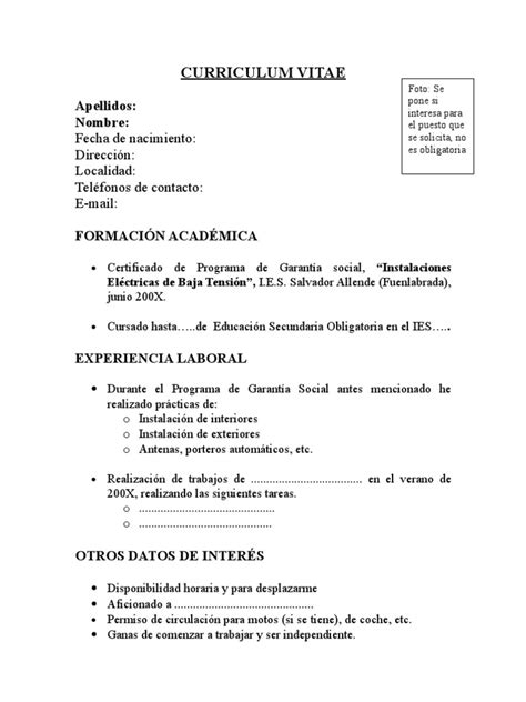 Modelo Curriculum Vitae Breve Curriculum Vitae Modelo