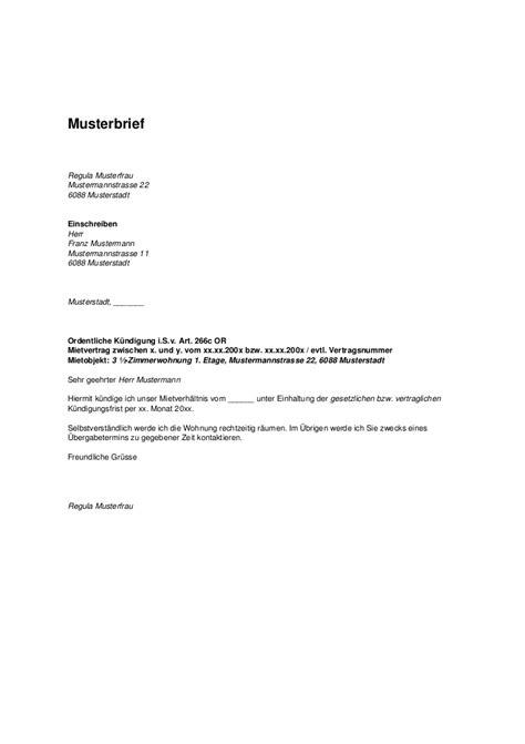 Anmeldung Brief Beispiel Musterbrief K 252 Ndigungsschreiben Mietrecht