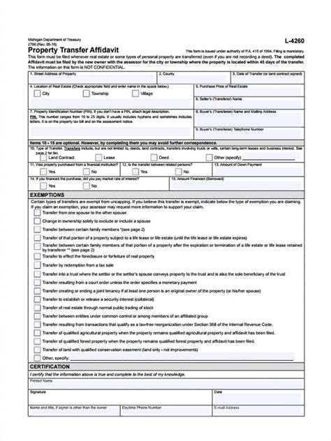 property transfer forms ms word excel