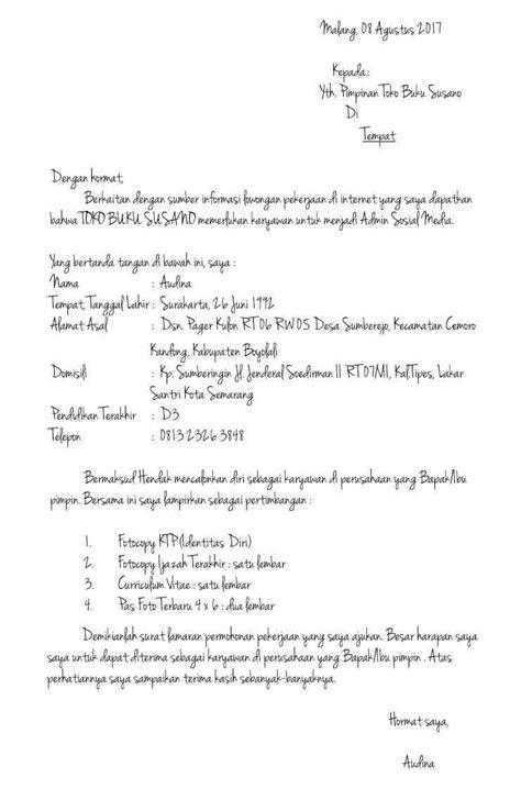 Contoh Surat Lamaran Kerja Tulis Tangan Terbaru - Contoh Surat