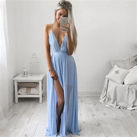 Marien Maxi Blue v neck baby blue prom dresses chiffon spaghetti