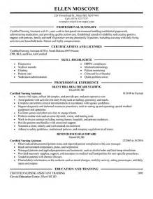 Sle Resume For Cna by Cna Duties Responsibilities Resume