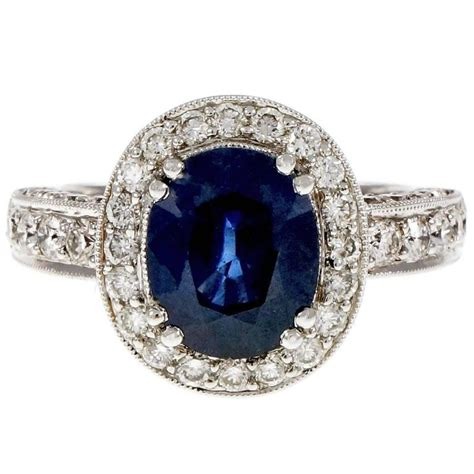 Blue Sapphire Similiar To Royal oval 3 48 carat royal blue sapphire gold halo engagement ring for sale at 1stdibs