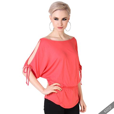 Sleeve Cold Shoulder Shirt womens split sleeve blouse cold shoulder oversized shirt