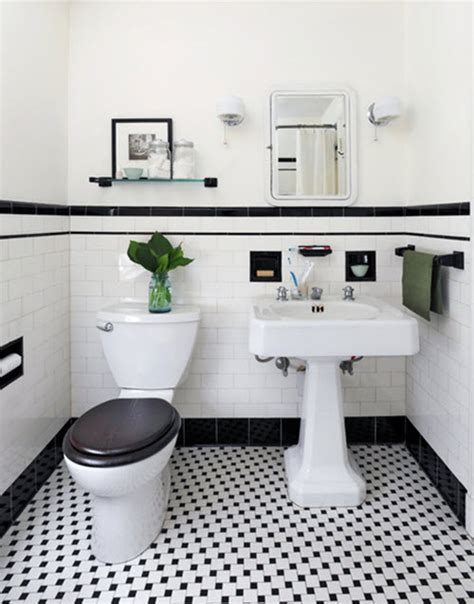 vintage black and white bathroom 31 retro black white bathroom floor tile ideas and pictures