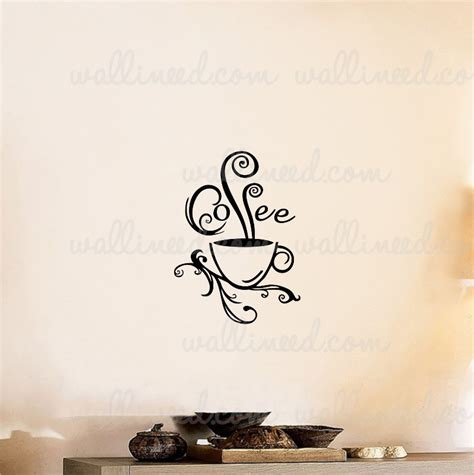 coffee cup swirl wall decal sticker coffee sticker - Coffee Wall Stickers