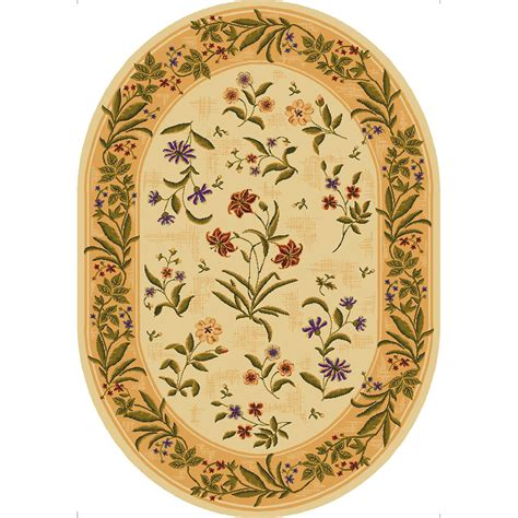oval accent rugs shop mohawk home summer flowers beige beige oval indoor