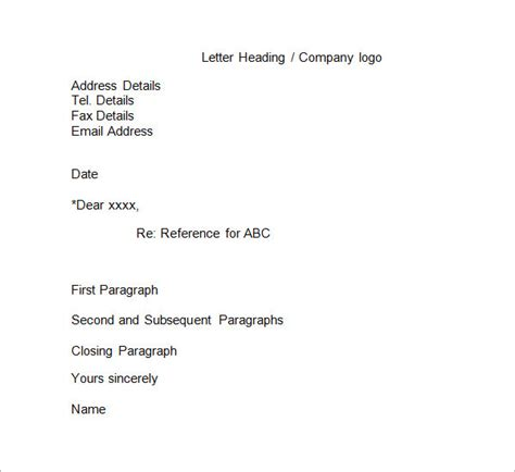 Business Letter Format Using Re business reference letter 11 free documents in