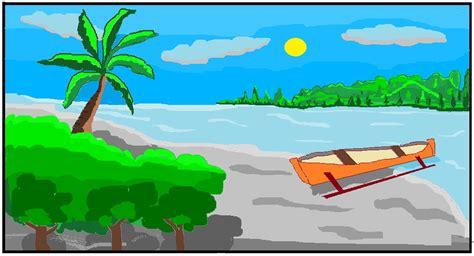 alusius kristomo menggambar pemandangan pantai