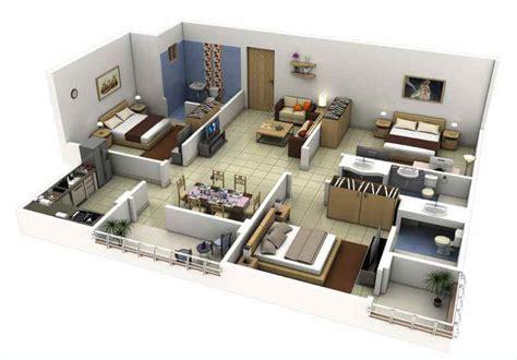 design interior apartemen 2 br 30 denah rumah minimalis 3 kamar tidur 3d tiga dimensi
