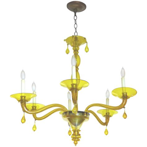 Yellow Chandelier Mid Century Murano Glass Yellow Six Light Chandelier For Sale At 1stdibs